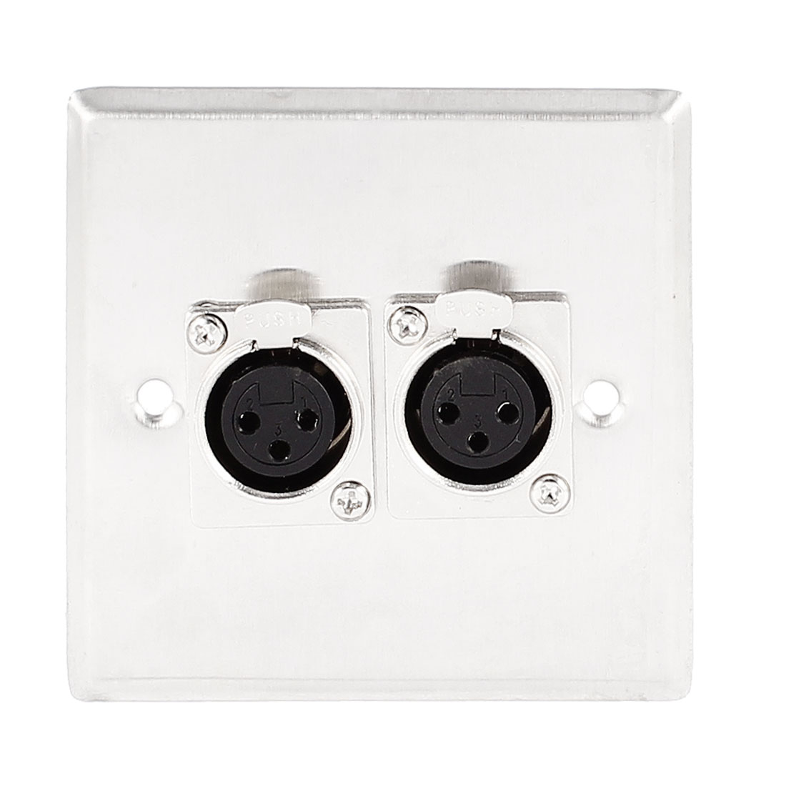 Speaker Metal Dual Female XLR Connector Wall Plate Panel Silver Tone 85mm x 85mm