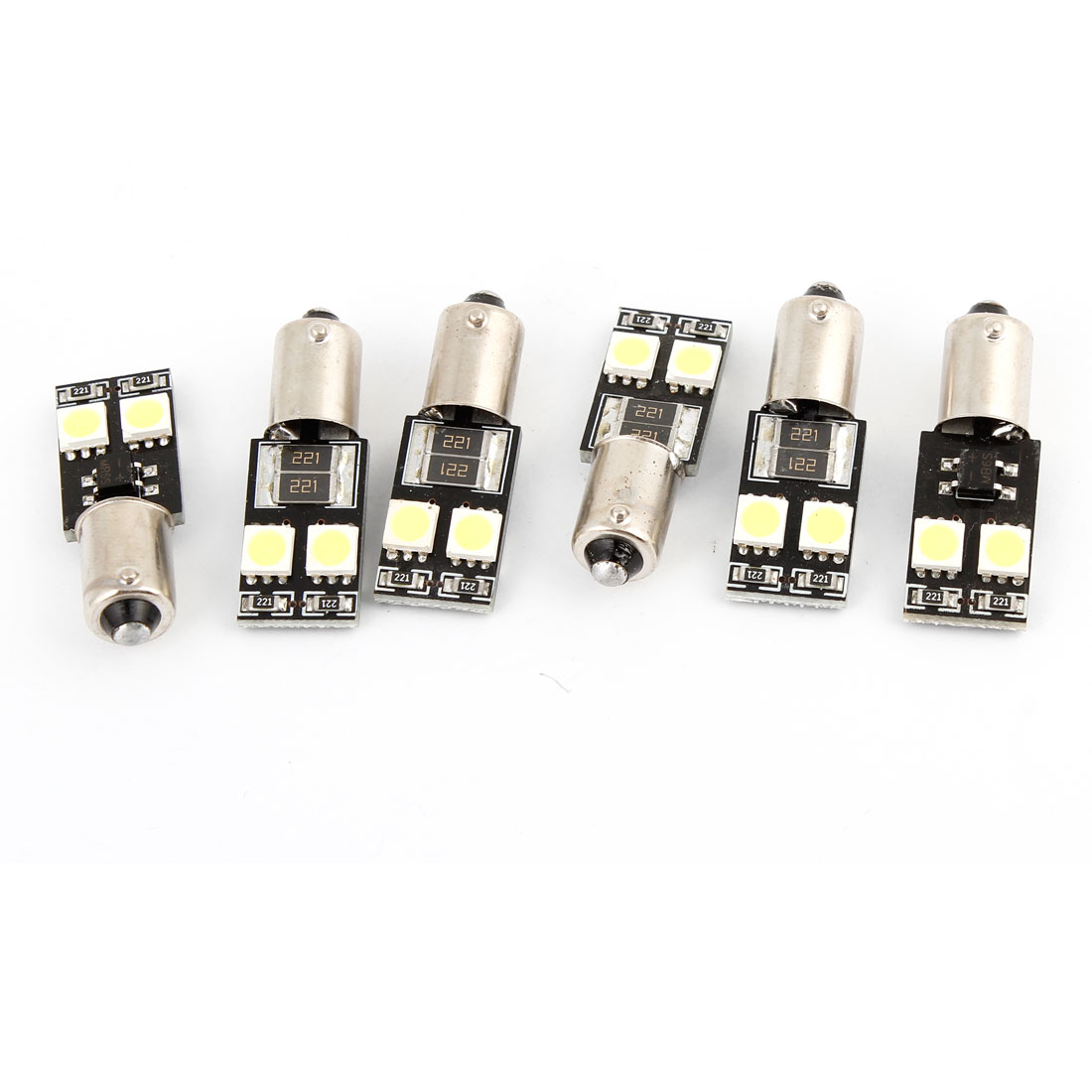 6 Pcs White BA9S Error Free 4 SMD 5050 LED Bulb Indicator Light Lamp
