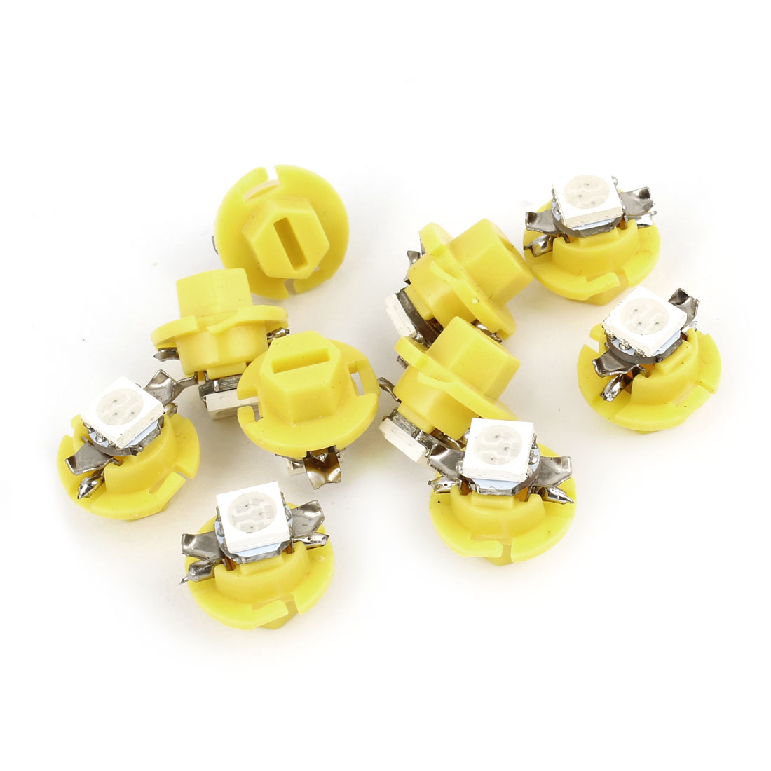 10 Pcs Car Yellow B8.4D 5050 1 SMD LED Dashboard Indicator Side Light DC 12V Internal