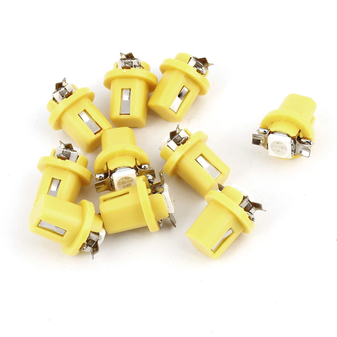 10 Pcs Yellow B8.5D 5050 SMD LED Car Dashboard Indicator Side Light DC 12V Internal