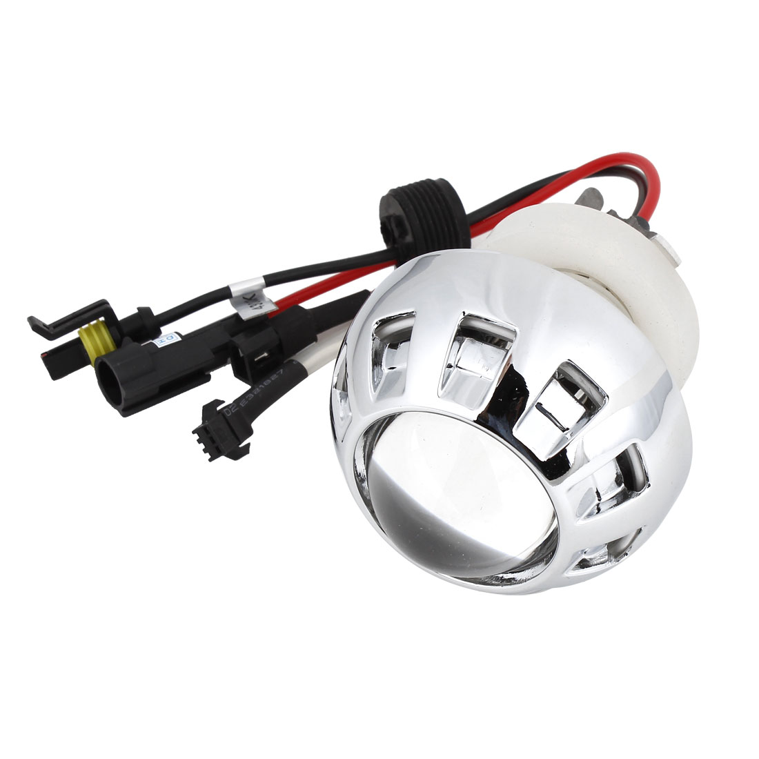 DC 12V 4300K Angel Eye Motorcycle HID Xenon Projector White Lens Lamp Kit w Harness