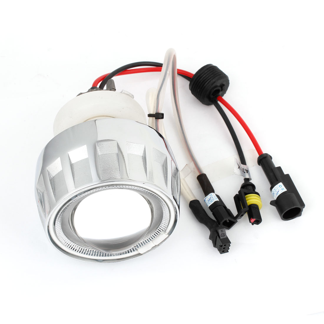 DC 12V Motorcycle 4300K White HID Xenon Projector Lens Light Kit w Angle Eye