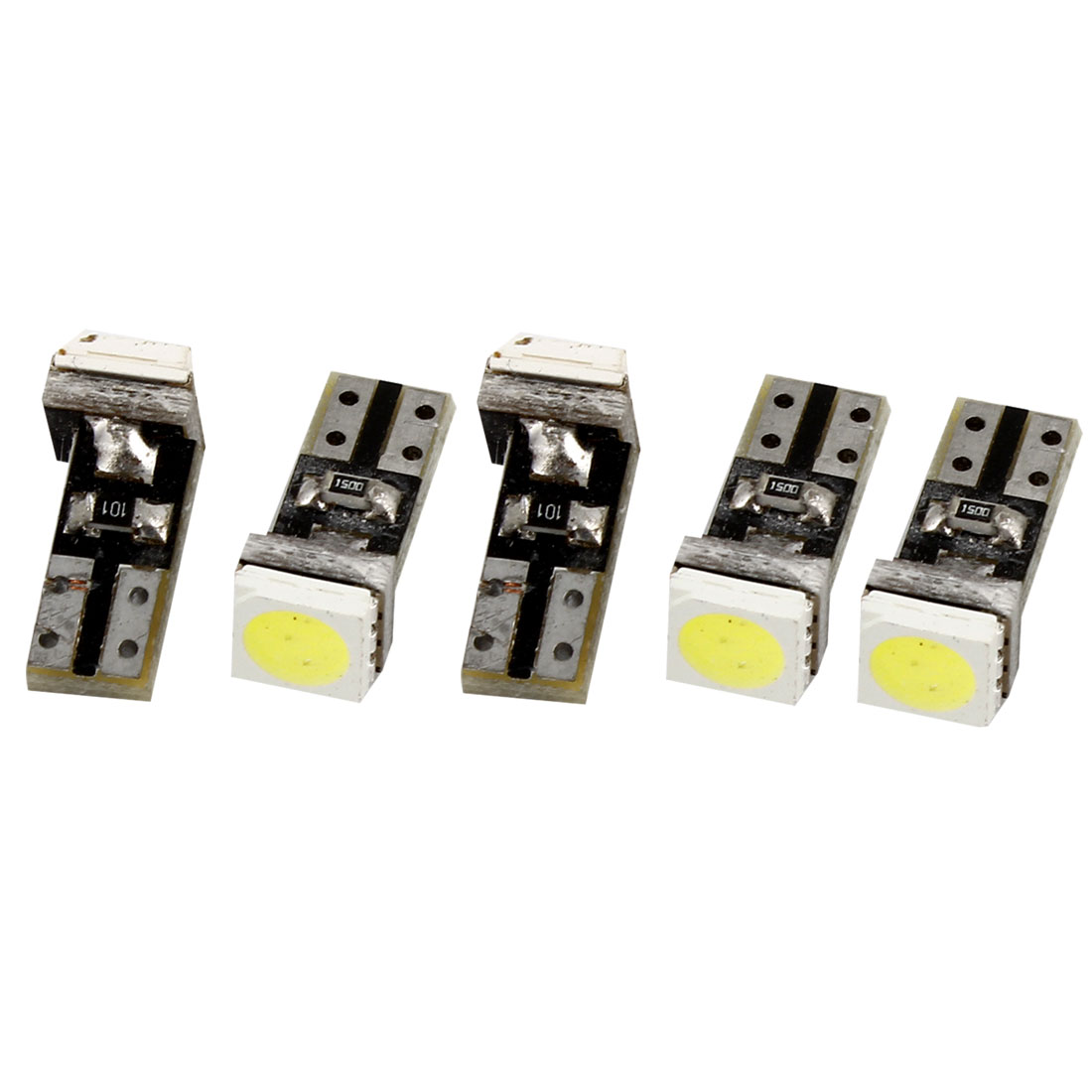 5 Pcs Auto T5 White 5050 SMD LED Tail Turning Brake Light Bulb Signal Lamp 12V internal