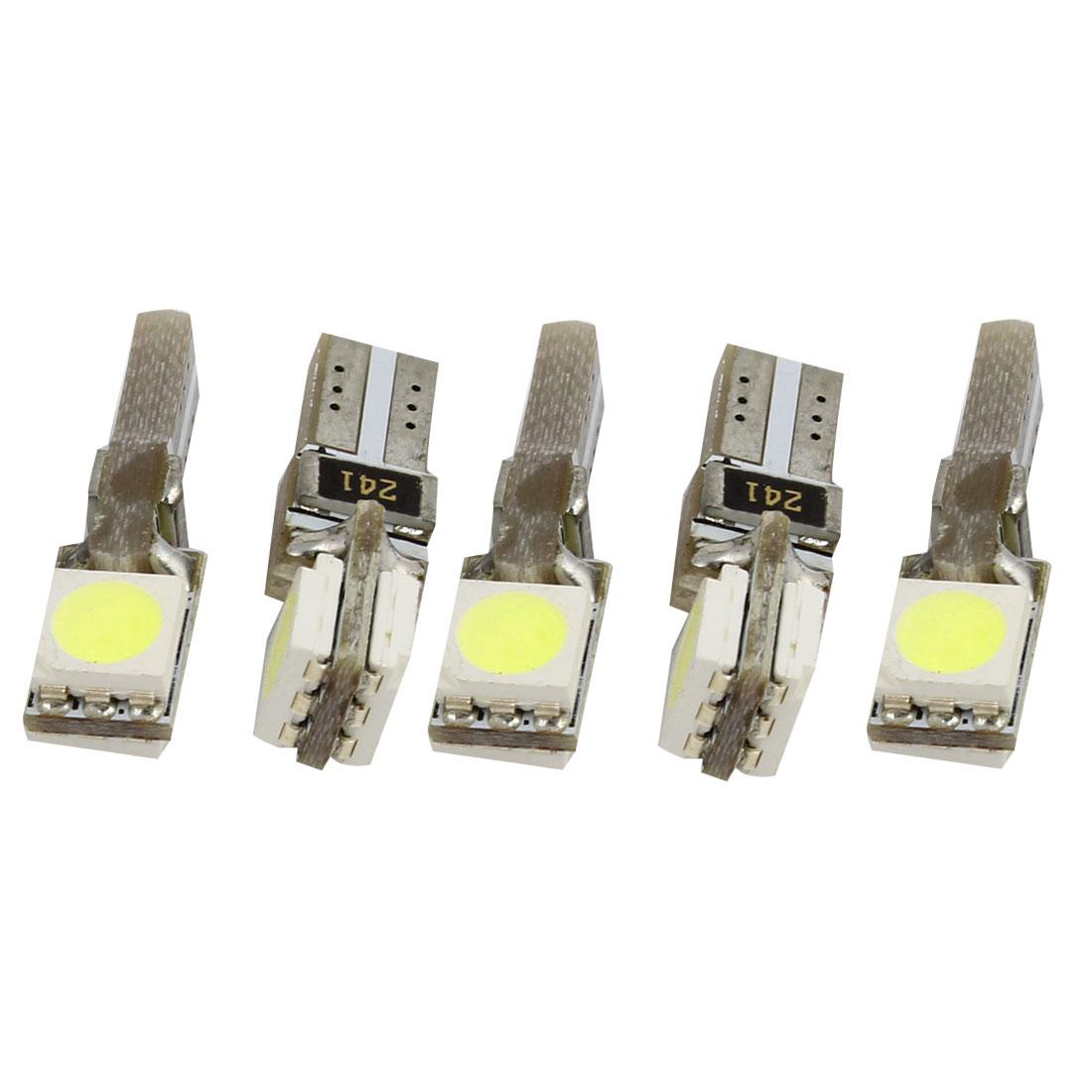 5 Pcs T5 Wedge 5050 2 SMD White Speedometer Gauge Cluster LED Light Bulb Lamp 12V internal
