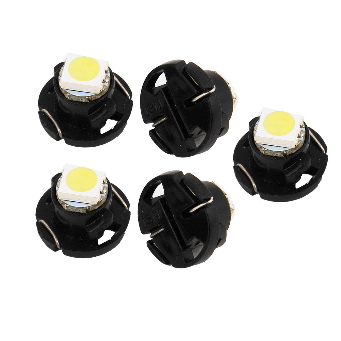 5 Pcs T4.7 5050 LED SMD Dashboard Panel Meter Light Bulb White 12V for Auto internal