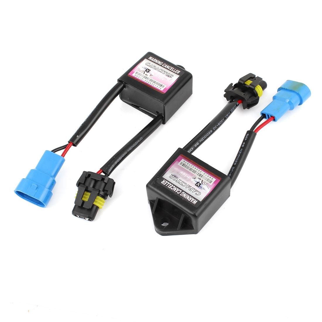 Pair Black Shell Warning Error Decoder Canceller Capacitor HID Light