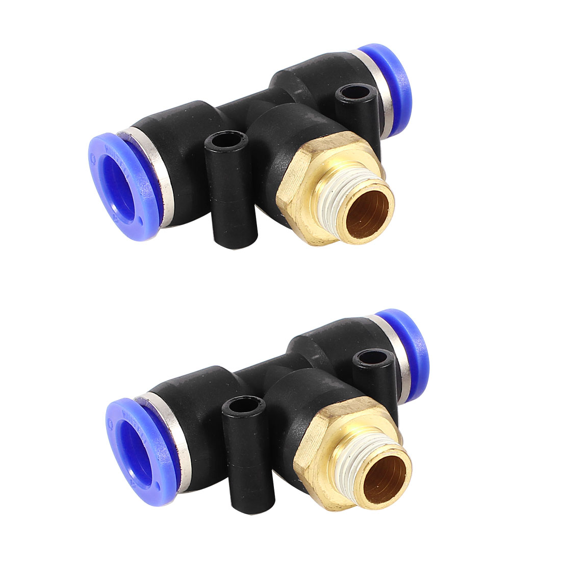 2pcs Air Pneumatic 12mm to 12mm 1/4PT Male Thread T Shape One Touch Quick Fitting Coupler