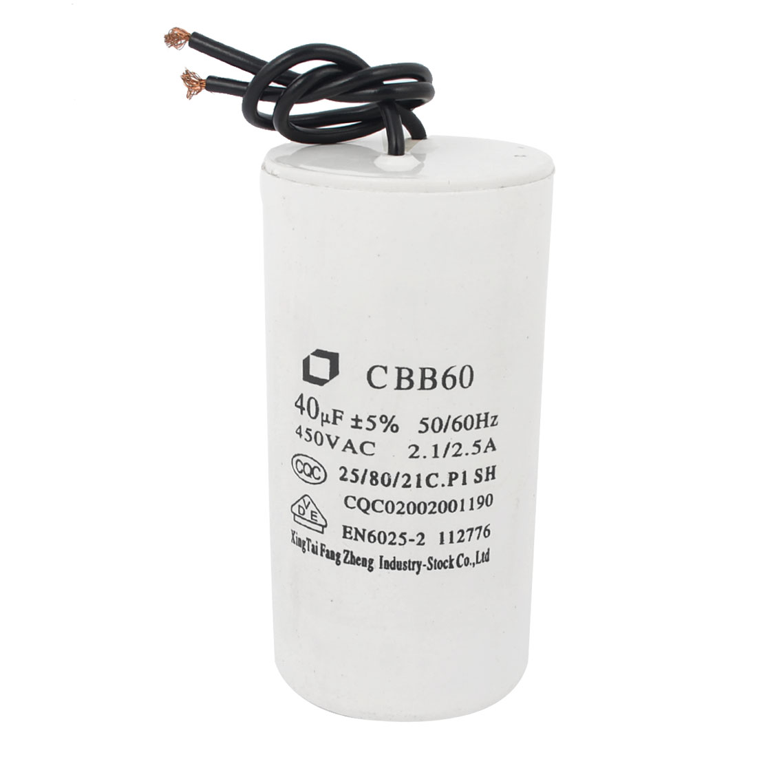 CBB60 Polypropylene Film Motor Run Capacitor 450VAC 50-60Hz 40UF