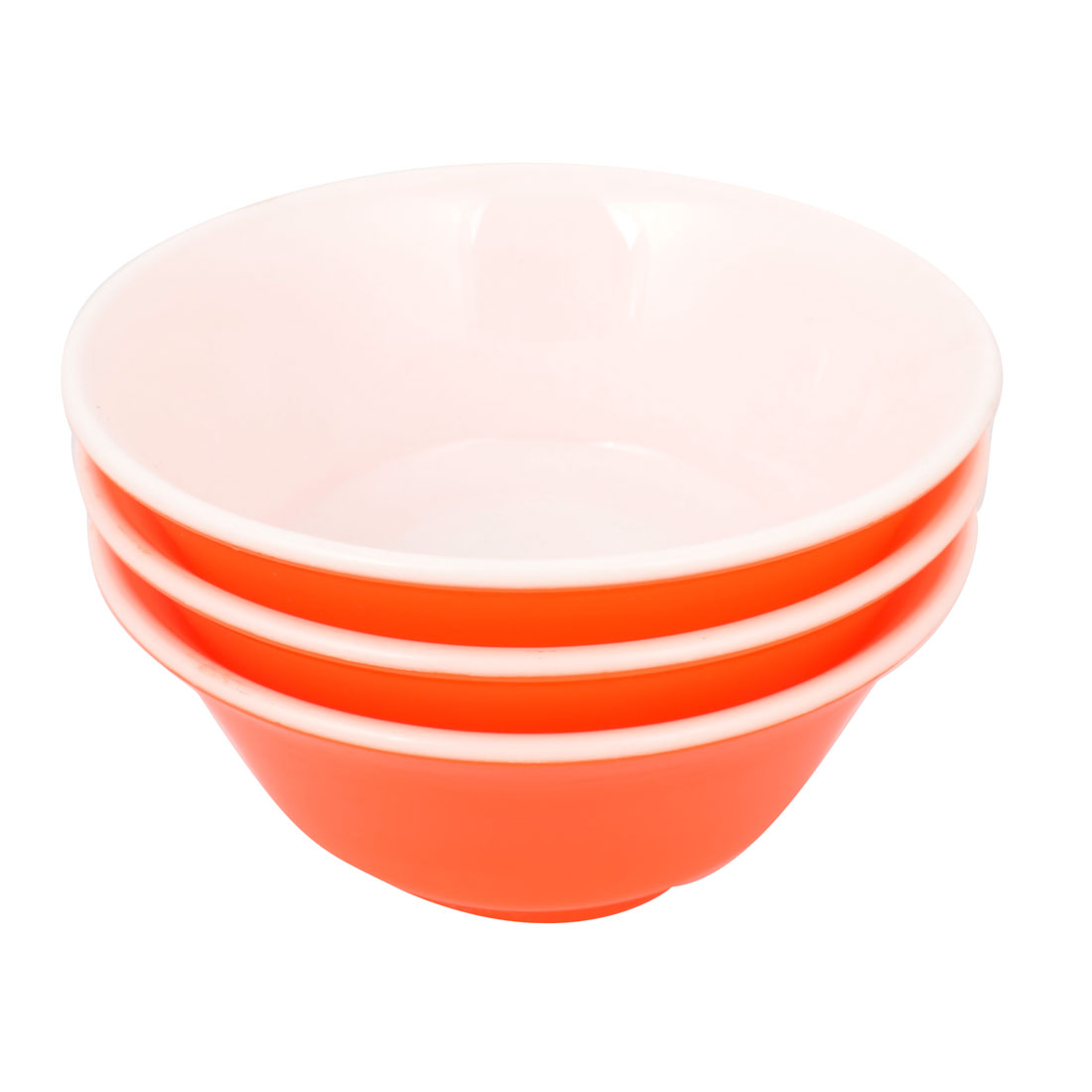 3 Pcs Kitchen Orange Red White Plastic Rice Bowl Food Container