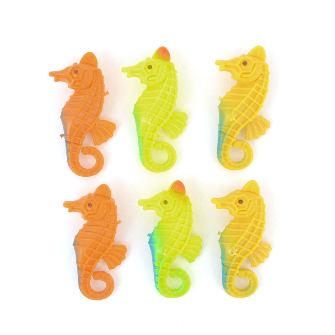 6 Pcs Yellow Khaki Orange Hard Plastic Emulational Animal Seahorse Toy