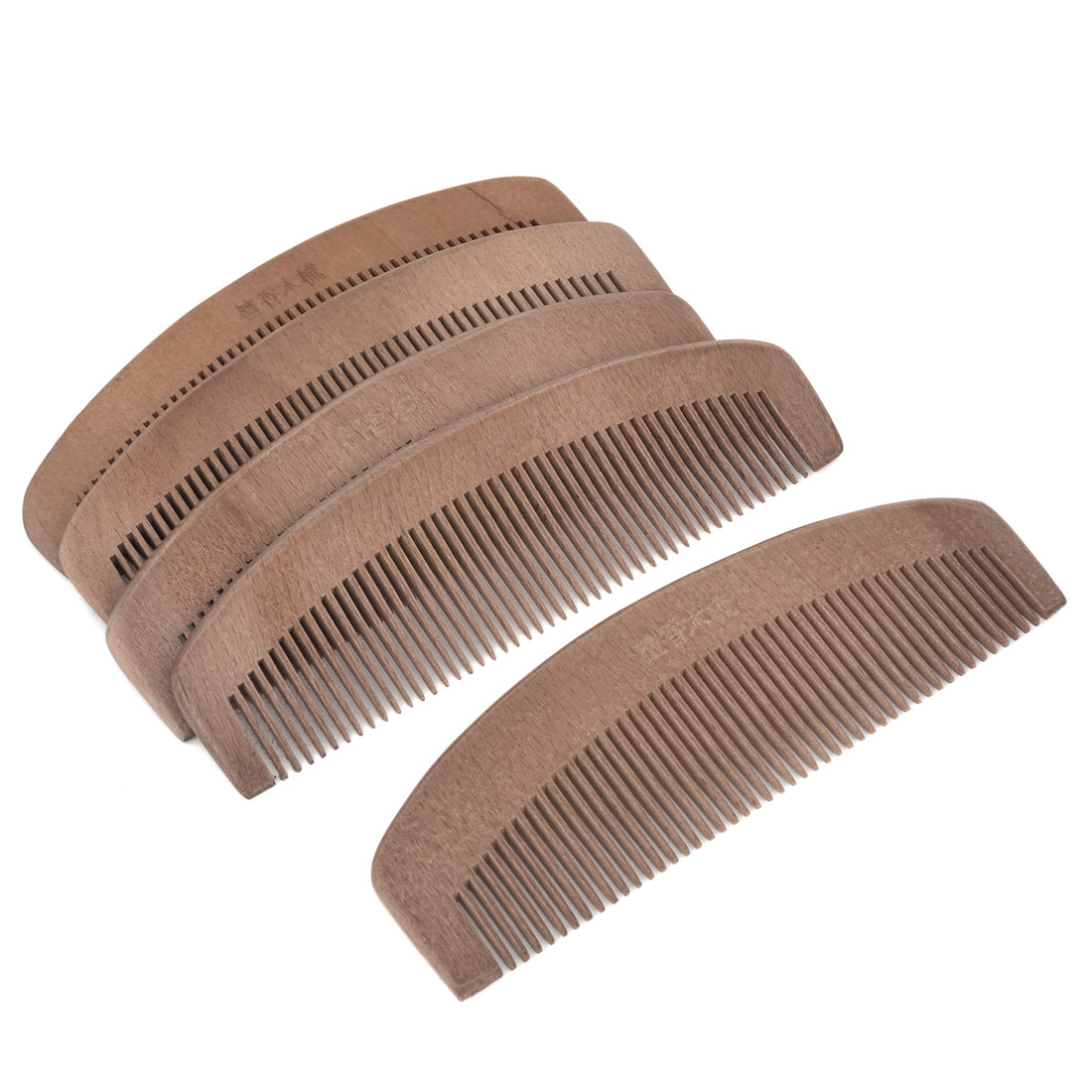 5 Pcs Portable Hair Care Toothed Massage Peach Wooden Comb Dark Brown