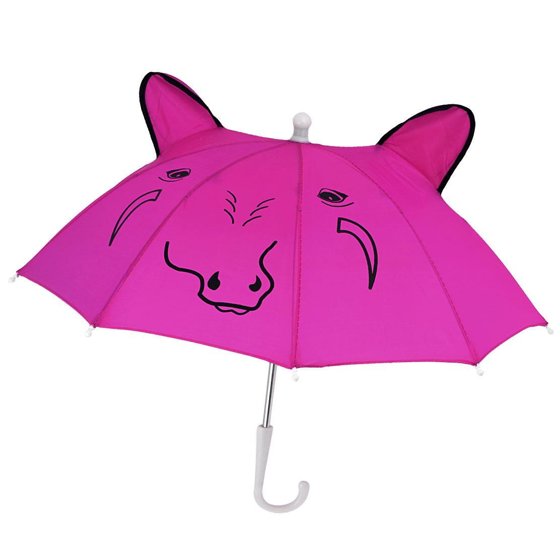 Child Fuchsia Cattle Head Printed Folding Mini Rain Umbrella Toy