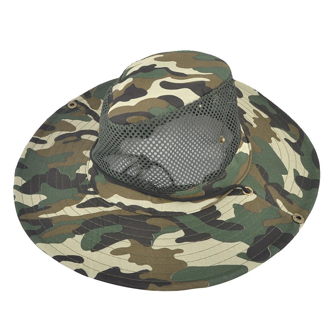Nylon Camouflage Pattern Adjustable Chin Strap Mesh Style Headband Breathable Visor Fishing Hat