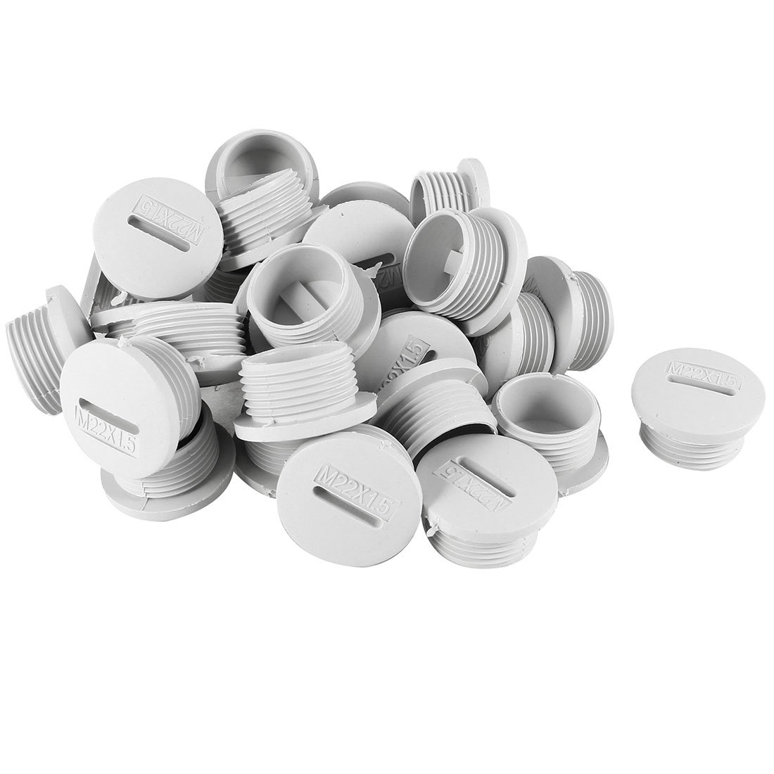 30 Pcs M22 22mm Diameter Round Gray Plastic Furniture Chair Table Legs Blanking End Cap Tubing Tube Insert
