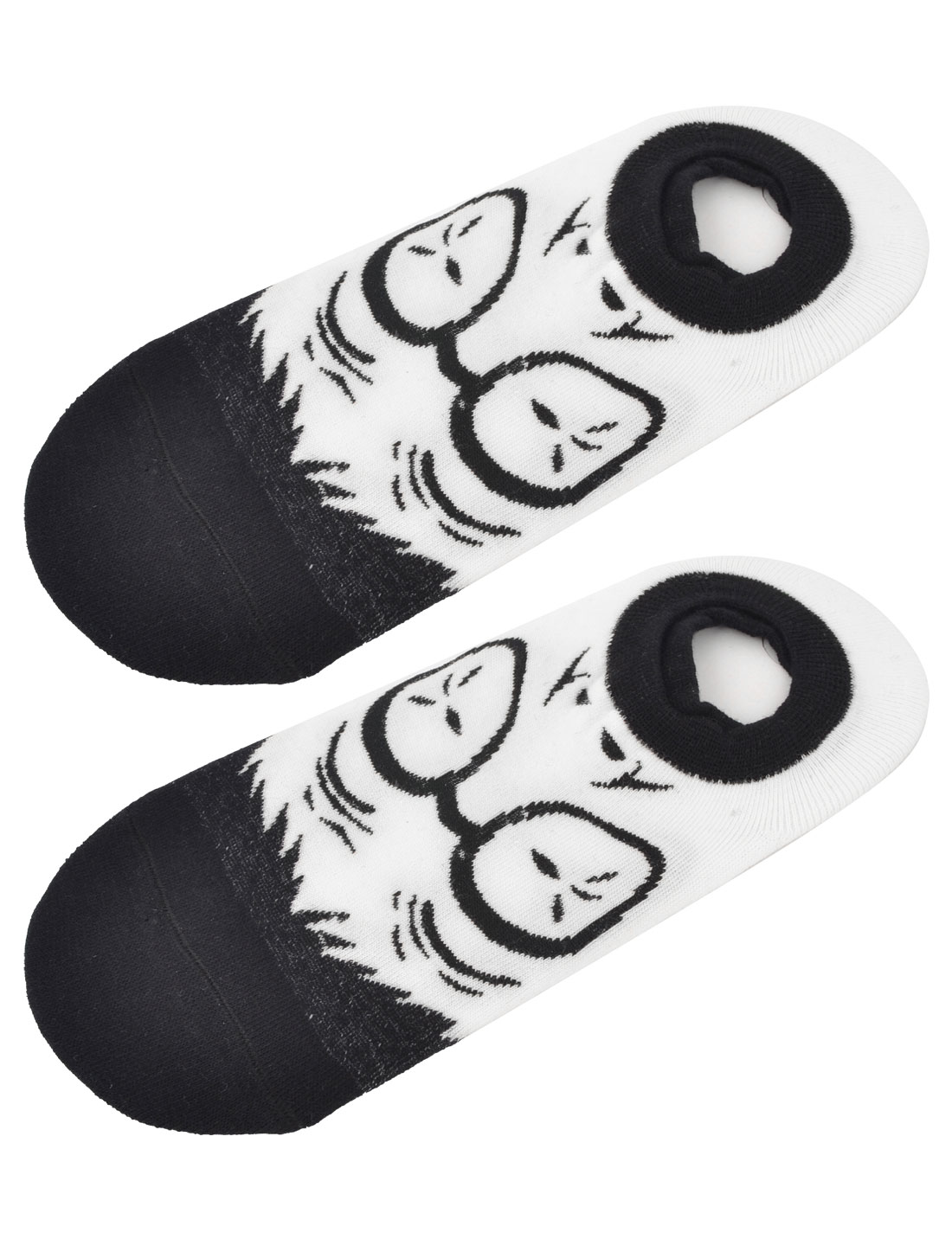 Unisex Elastic Cuff Surprise Expression Low Cut Boat Socks Black White Pair