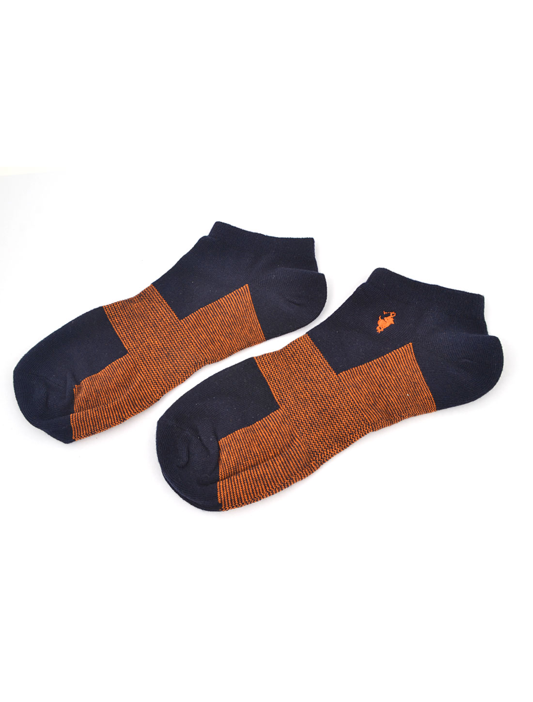 Pair Sport Elastic Cuff Low Cut Ankle Socks Navy Blue Orange for Man