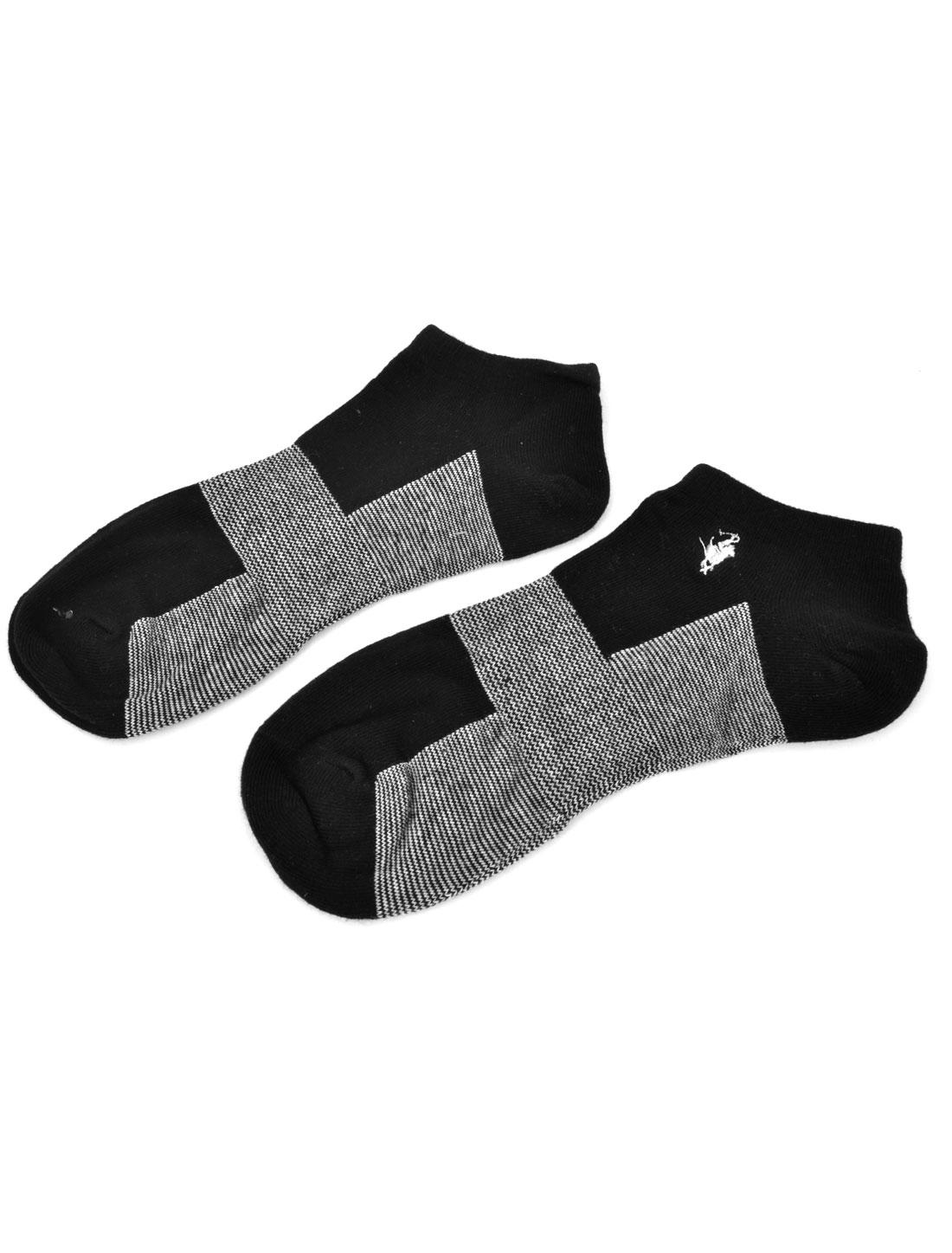 Men Black White Textured Low Ankle Summer Casual Hosiery Socks Pair