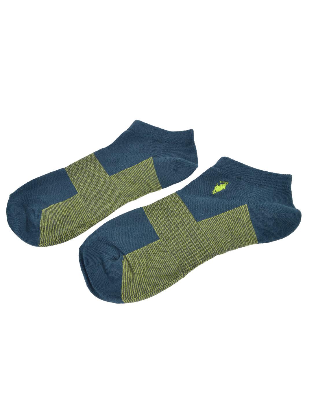 Men Steel Blue Yellow Textured Low Ankle Summer Casual Hosiery Socks Pair