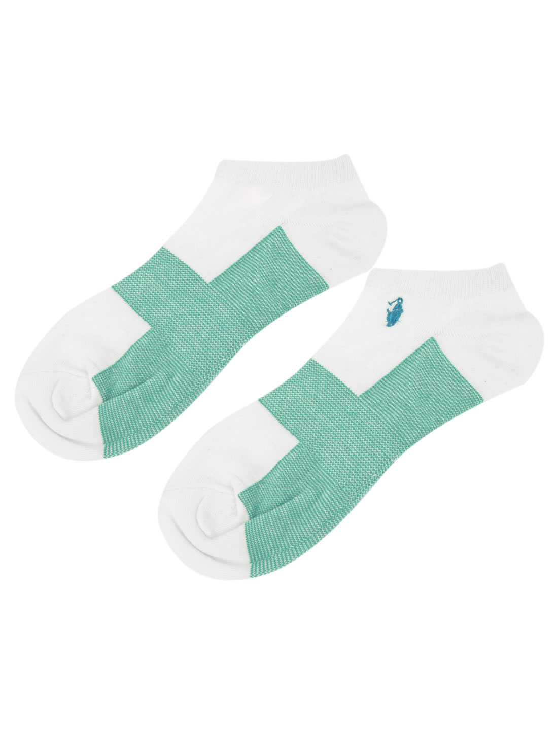 Pair White Green Color Block Stretchy Cuff Ankle Socks Sockings for Men