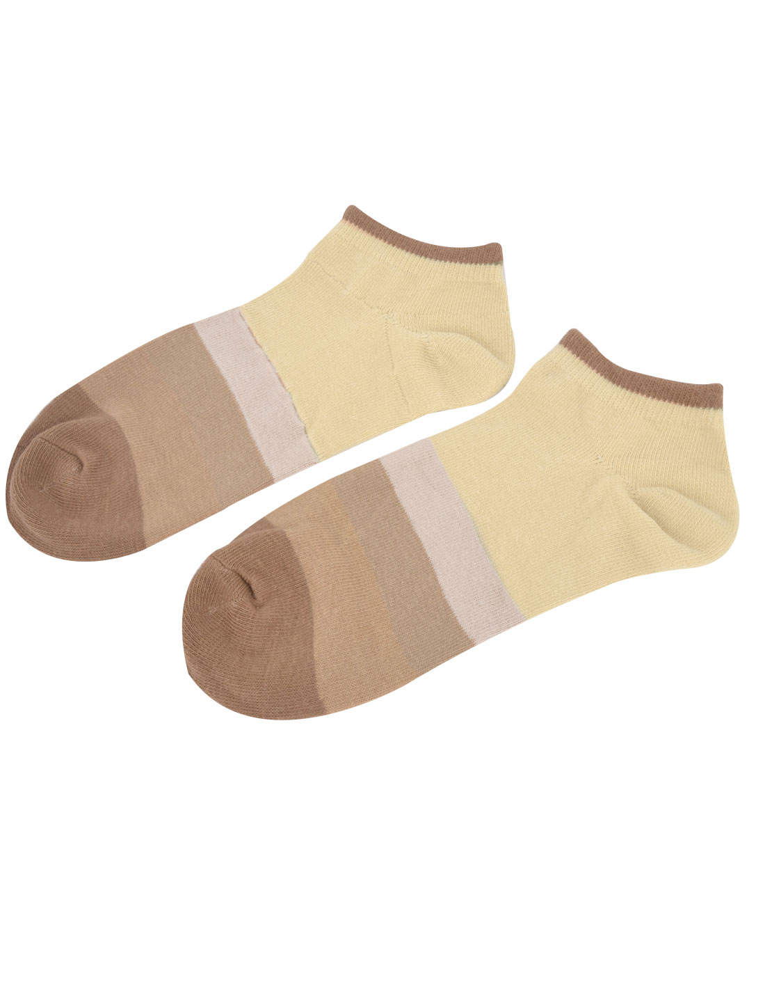 Unisex Elastic Cuff Low Cut Ankle Colorful Stripes Short Socks Beige Brown Pair