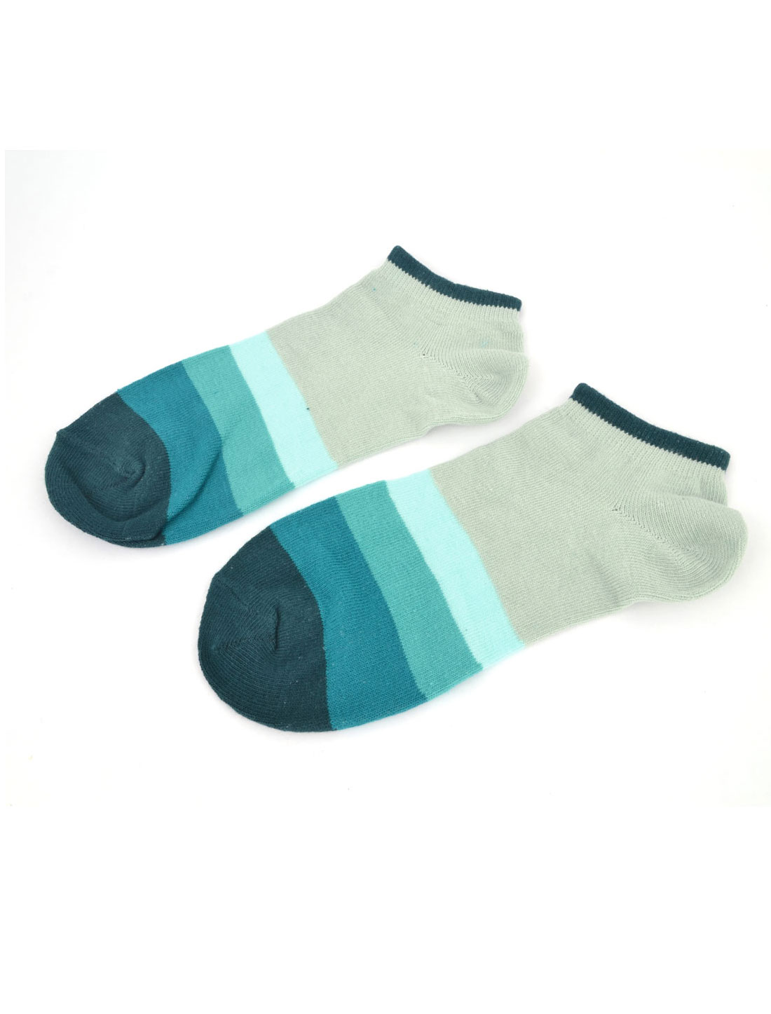 Unisex Elastic Cuff Low Cut Ankle Colorful Stripes Short Socks Cyan Green Pair