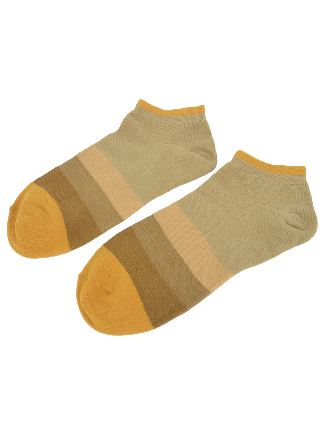 Men Women Ankle No Show Soft Casual Short Hosiery Socks Orange Khaki Pair
