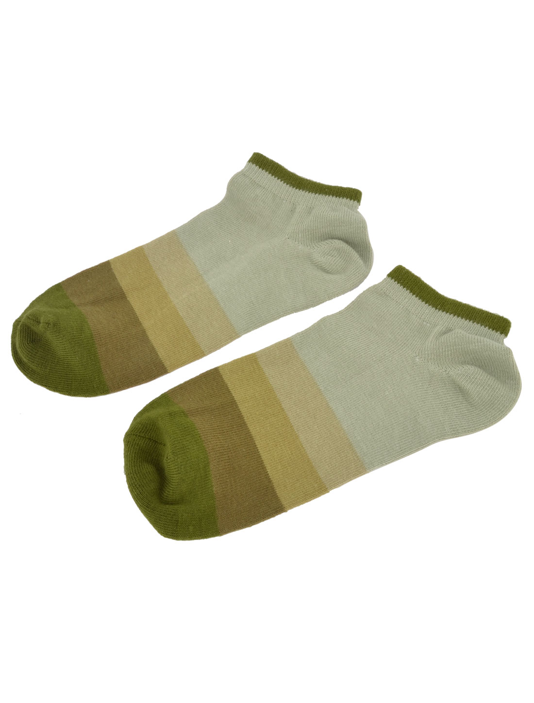Pair Stretchy Cuff Ankle Low Cut Olive Green Gradient Socks Sockings for Unisex