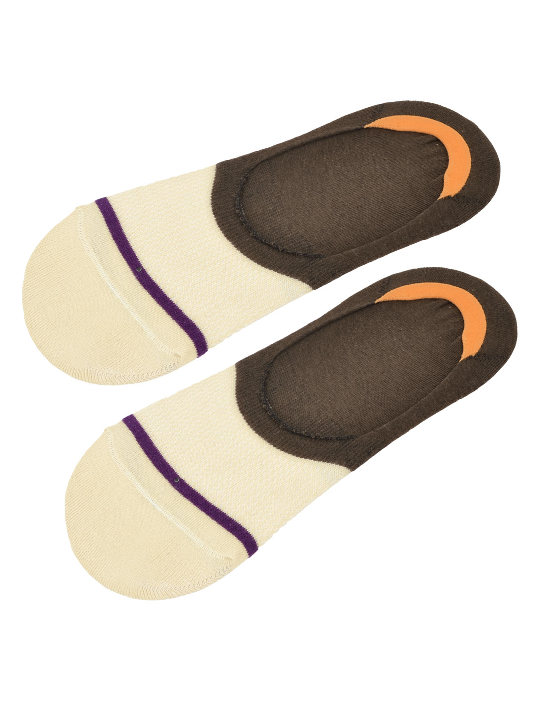 Man Stretchy Ankle No Show Casual Invisible Boat Socks Brown White Purple Pair