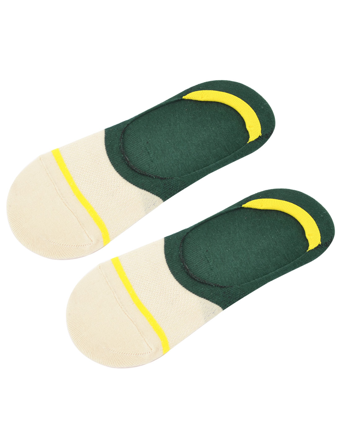 Men Summer Heel Care Loafer Boat Liner Invisible Socks Green White Yellow Pair