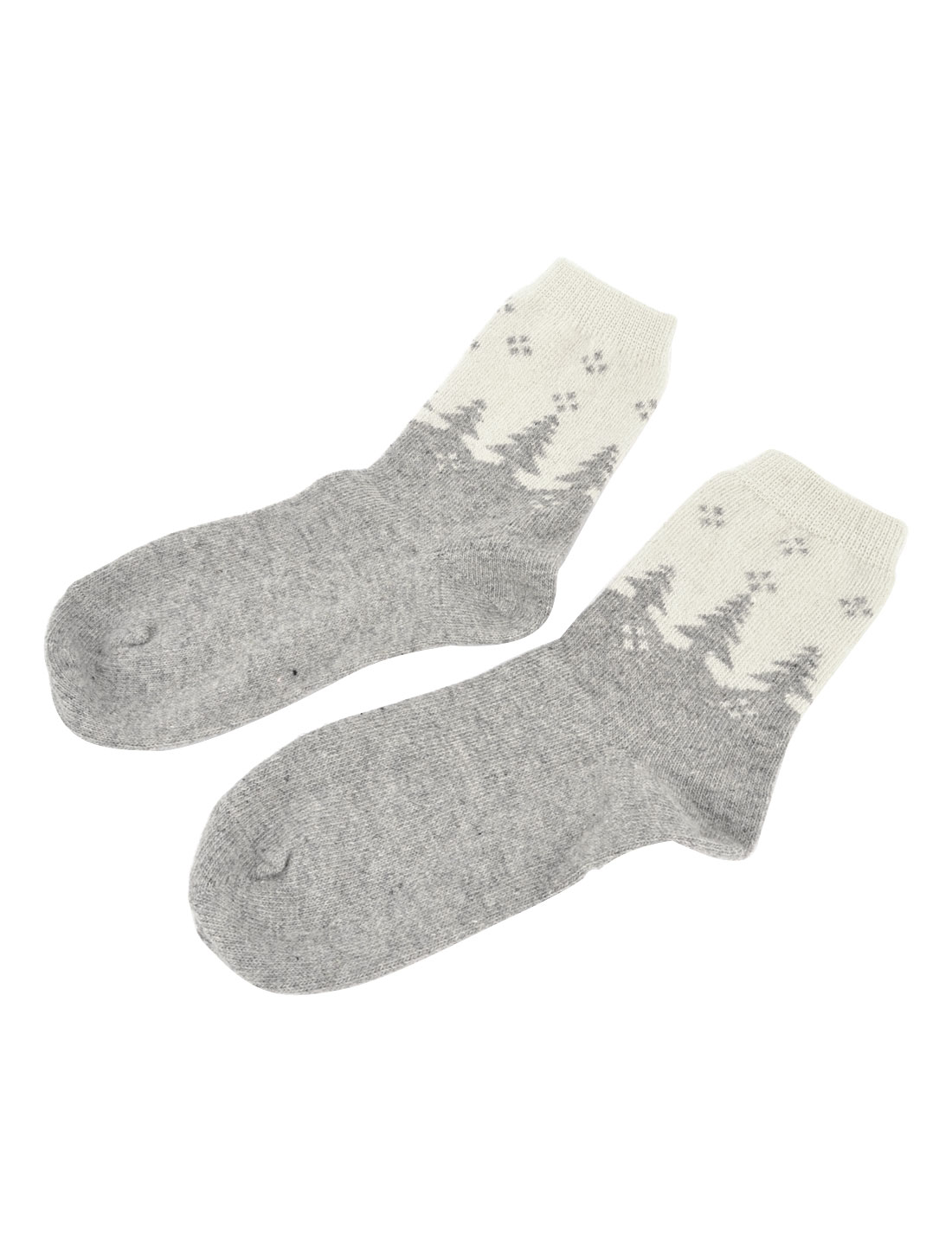 Pair Warm Wool Acrylic Tree Print Stretchy Ankle High Socks Gray White for Women
