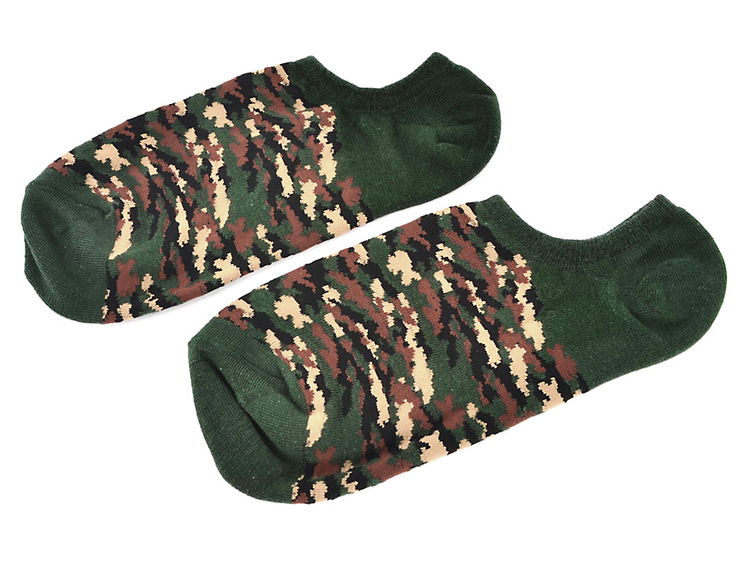 Lady Camouflage Pattern Stretchy Low Cut Invisible Socks Hosiery Dark Green Pair