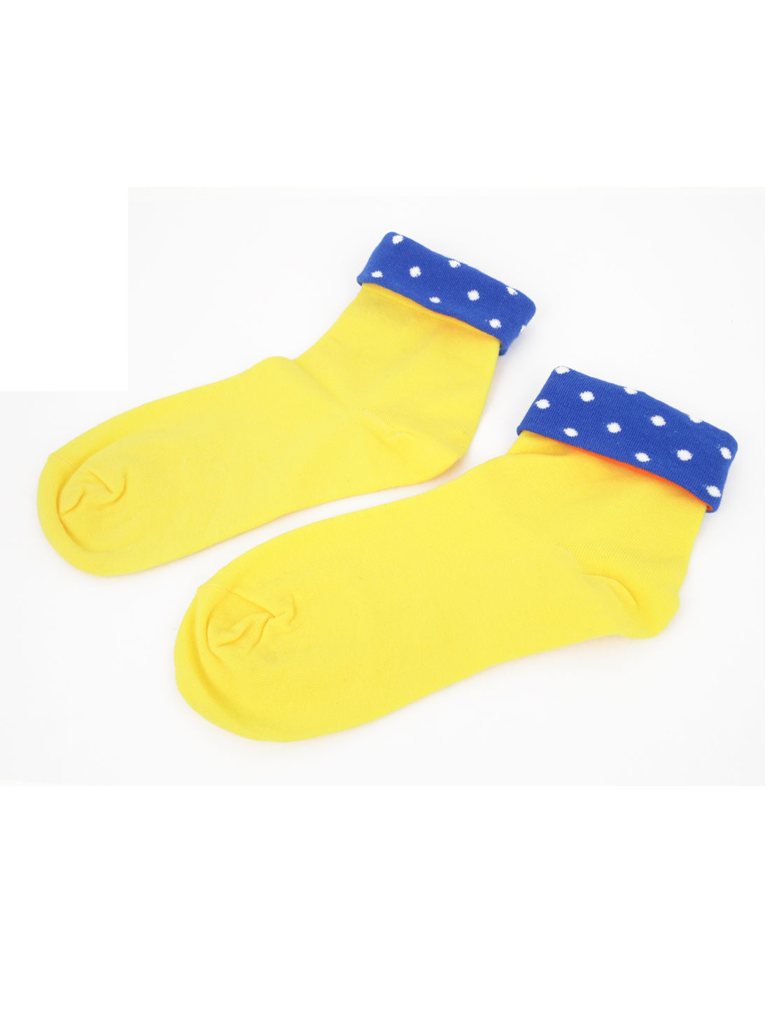Women Warm Polka Dots Print Stretchy Cuff Ankle High Sockings Yellow Blue Pair