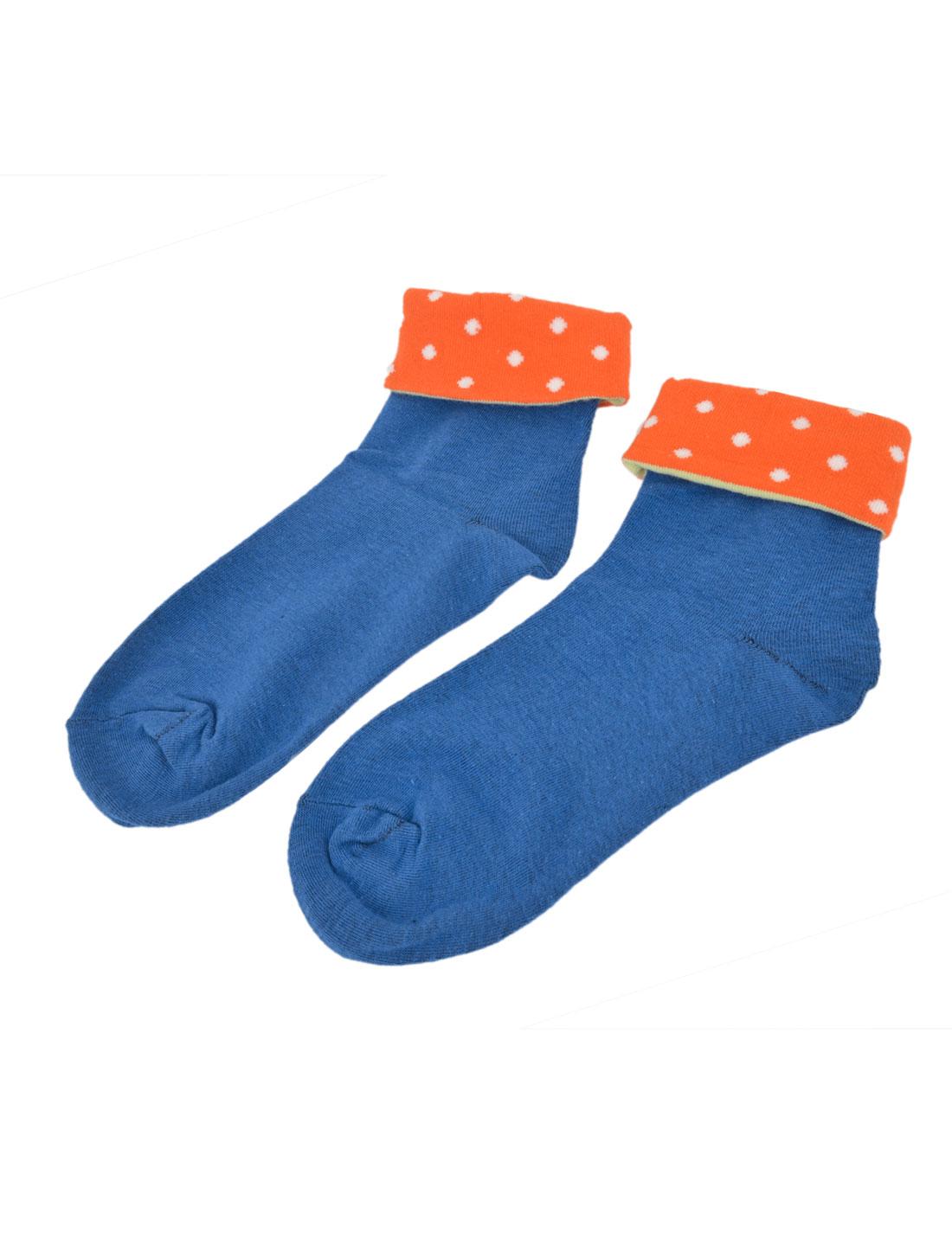 Woman Roll Cuff Ankle Length Soft Warmming Crew Hosiery Socks Orange Blue Pair
