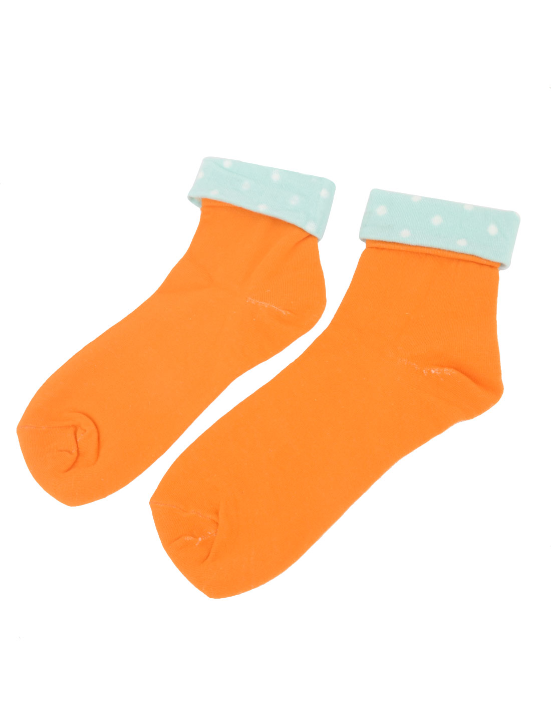 Pair Spotty Dots Pattern Elastic Cuff Warm Ankle High Socks Orange Cyan for Lady