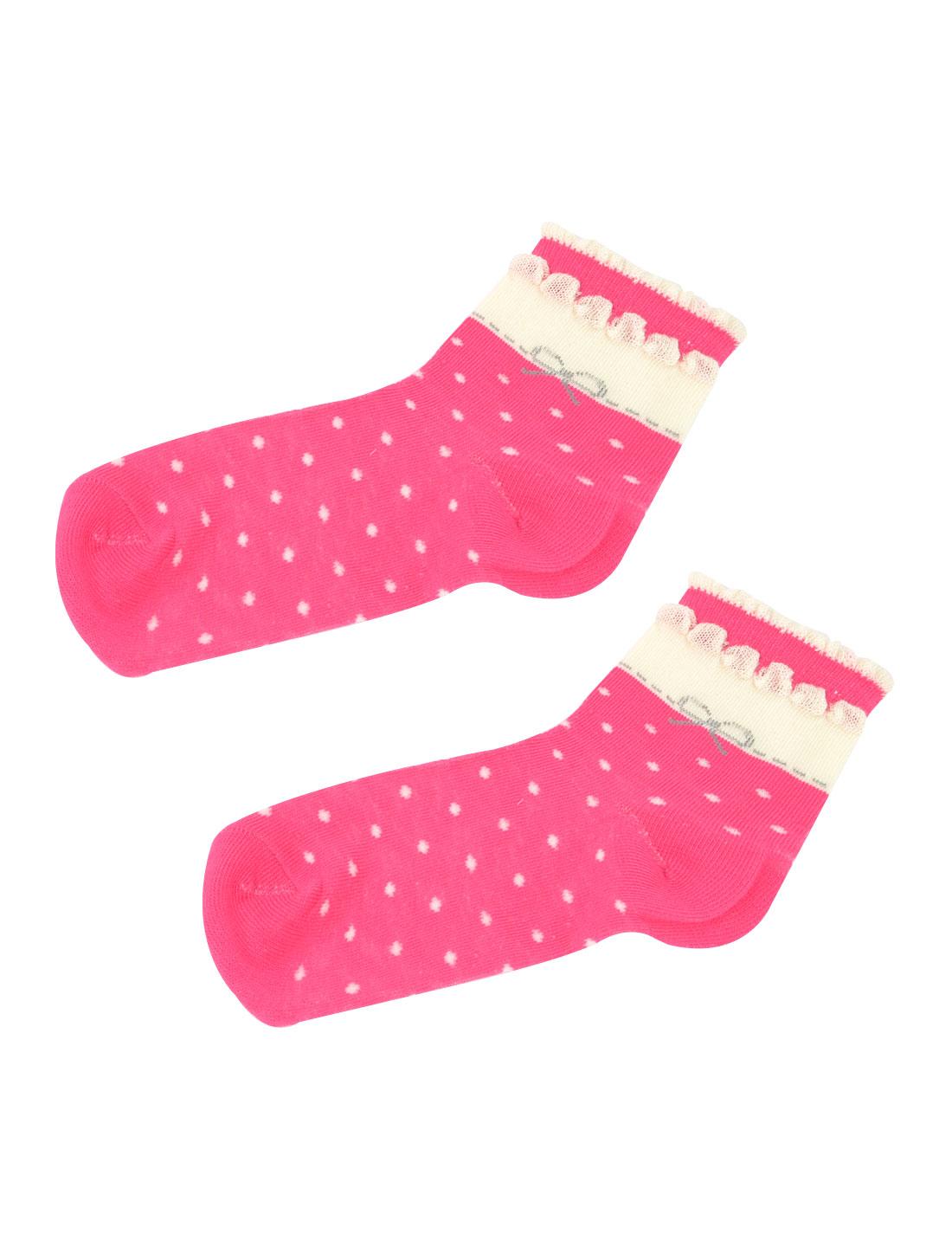 Woman Fuchsia White Elastic Cuff Polka Dot Print Crew Ankle Socks Hosiery Pair