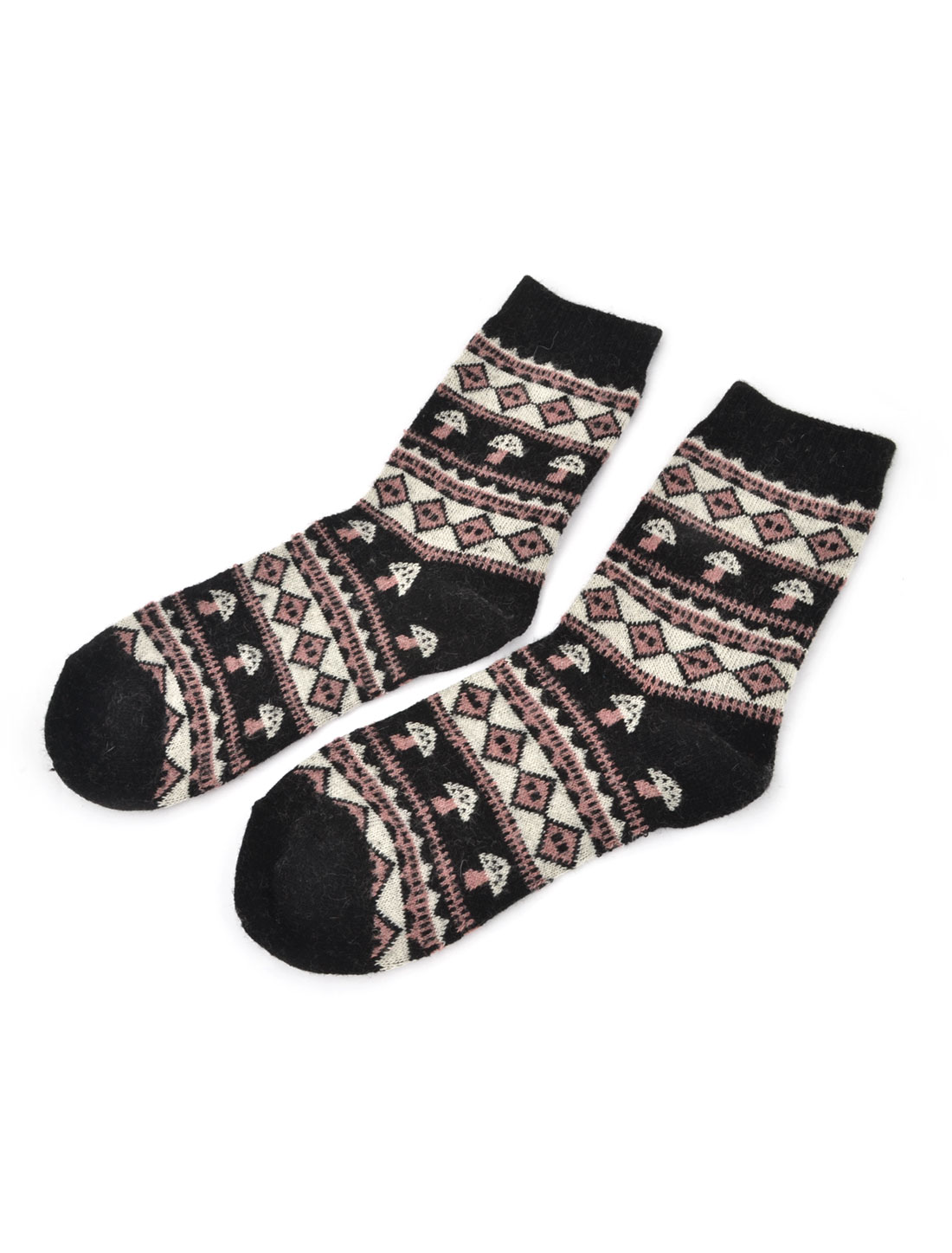 Ladies Stretchy Ribbed Cuff Tribal Print Warm Wool Ankle Socks Black White Pair