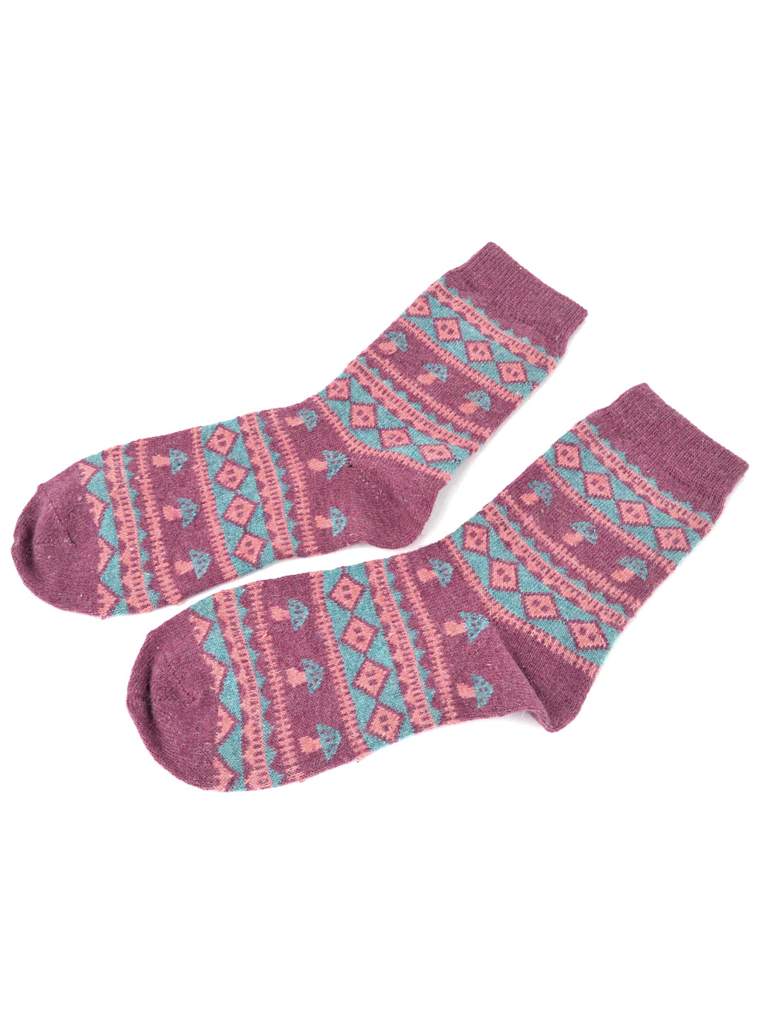 Woman Elastic Cuff Mushroom Pattern Wool Ankle Socks Hosiery Blue Purple Pair