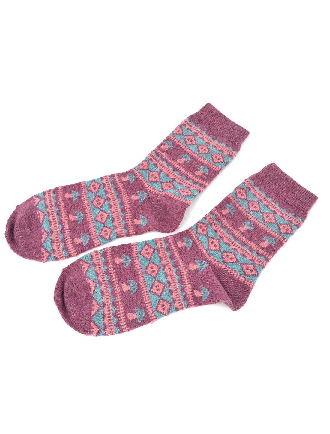 Woman Elastic Cuff Mushroom Pattern Wool Ankle Socks Hosiery Blue Purple Pair