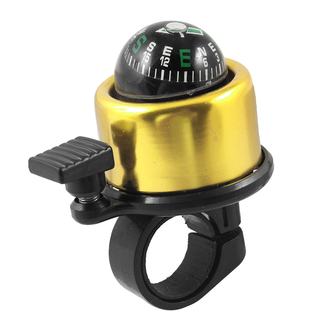 Bicycle Cycling Handlebar Compass Ring Bell Alarm Gold Tone Black