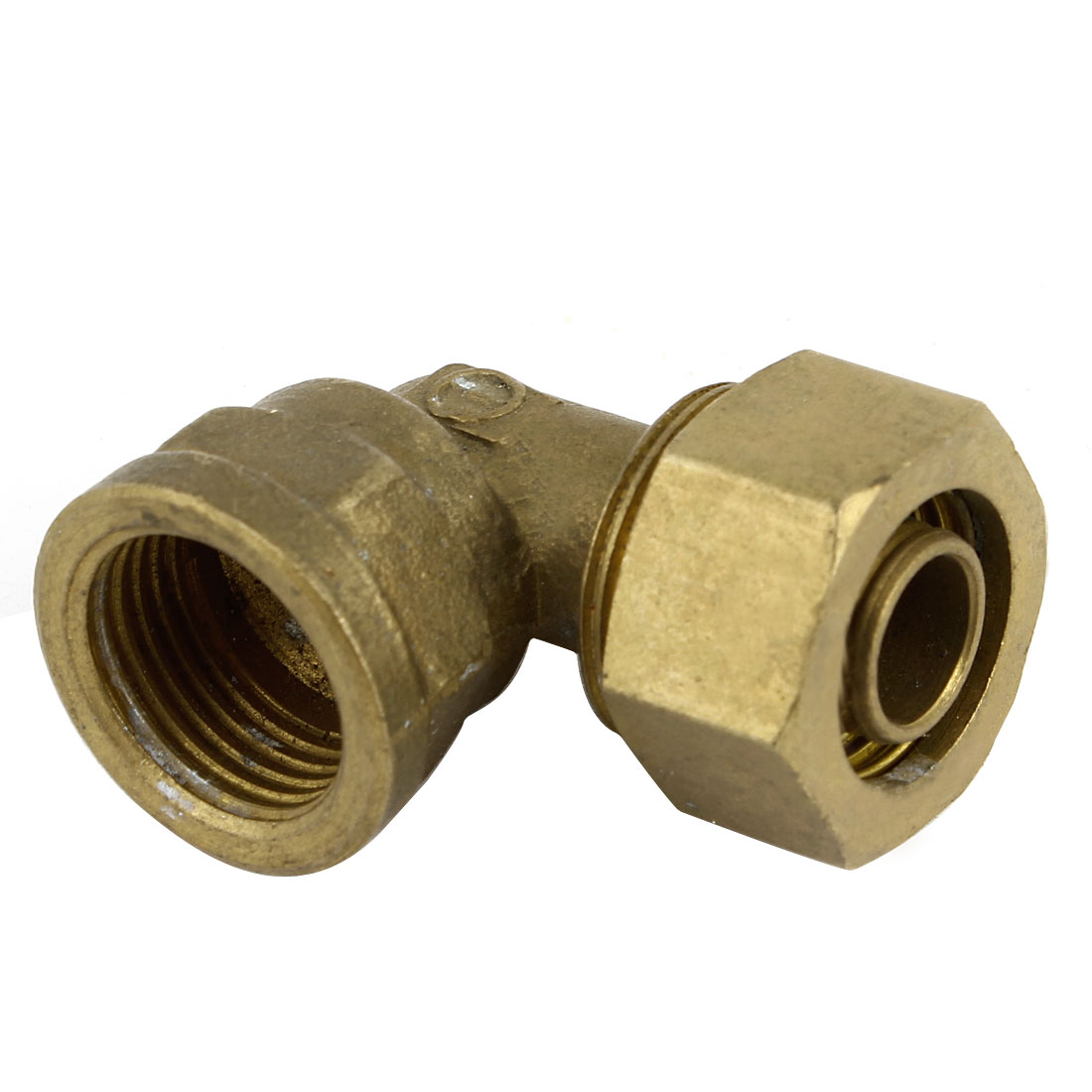 1/2 PT Female Thread 90 Degree Right Angle Design Hose Pneumatic Pipe Tube 11 x 14mm Quick Equal Elbow Coupler Connector Fitting Adapter Brass Tone