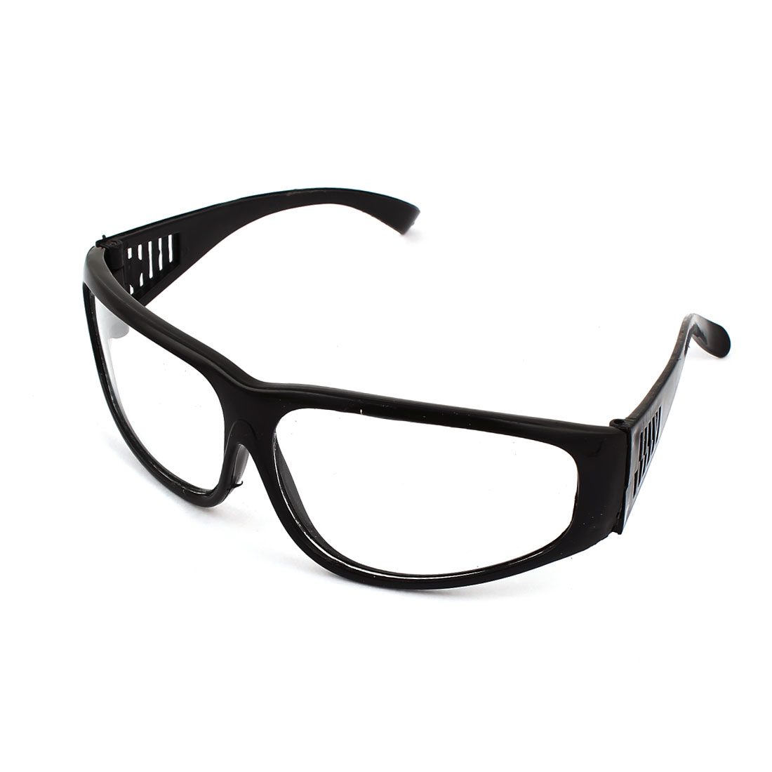 Black Plastic Full Frame Hollow Out Arms Clear Lens Welding Glasses Goggles