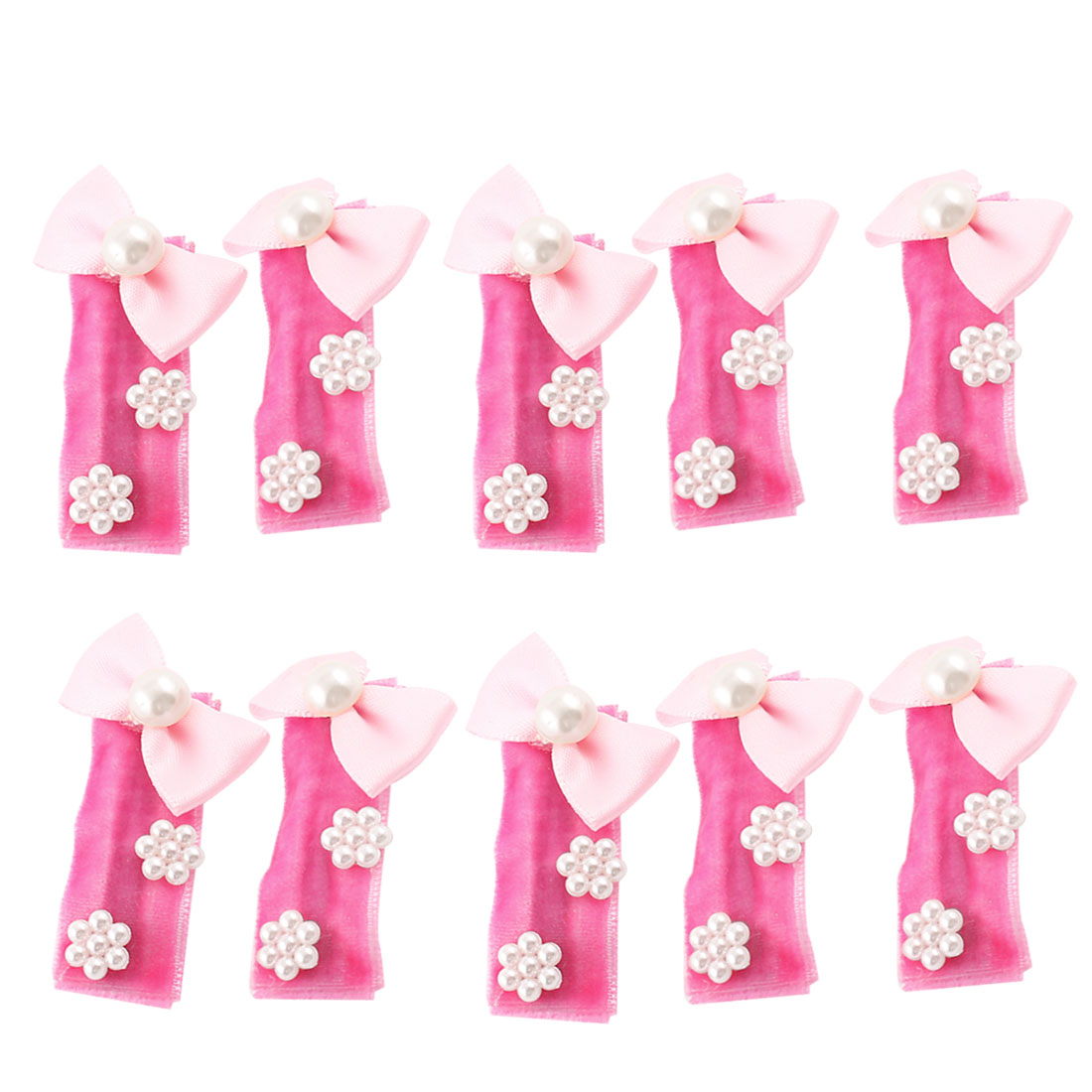 10pcs Flower Round Beads Accent Pet Dog Hair Clip Pin Barrette Fuchsia Pink
