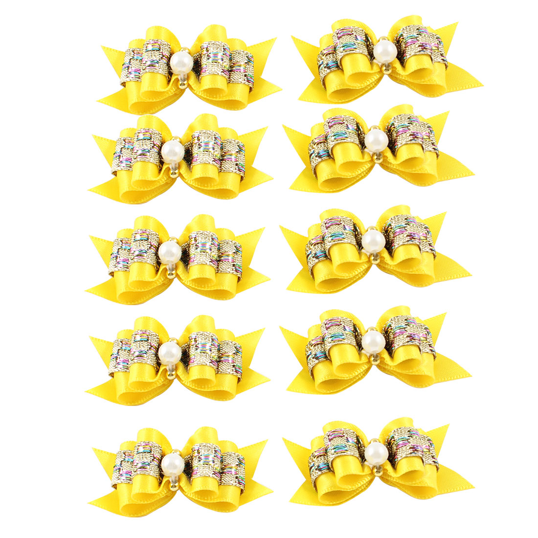 10 Pcs Bowknot Round Beads Accent Pet Dog Cat Stretch Hair Band Yellow