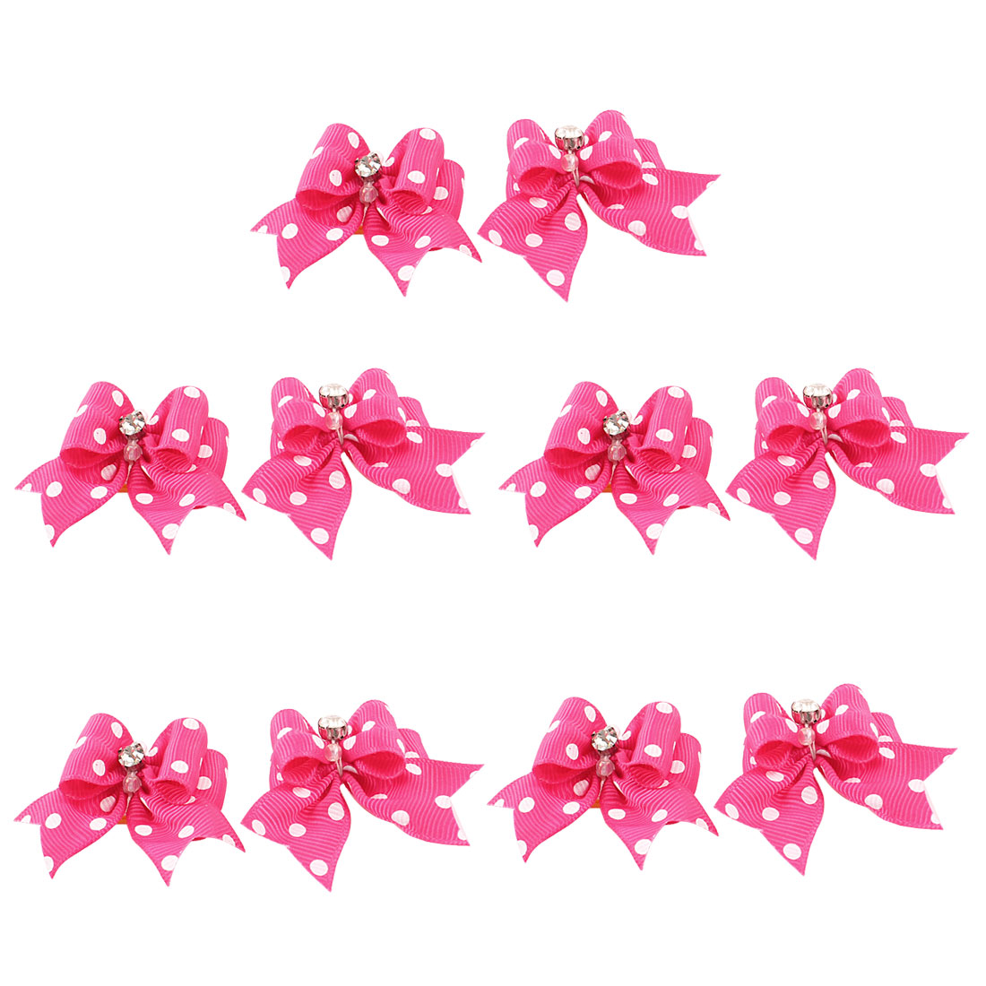 10 Pcs Rhinestone Accent Dot Print Pet Dog Puppy Elastic Hair Band Fuchsia
