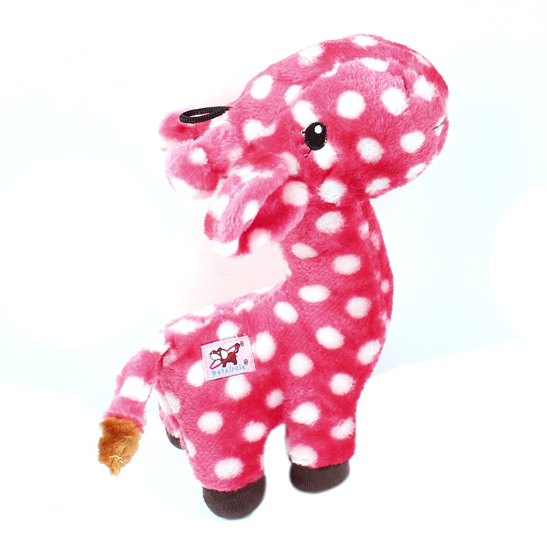 Dot Pattern Giraffe Shaped Pet Dog Yorkie Squeaky Play Toy Pink White