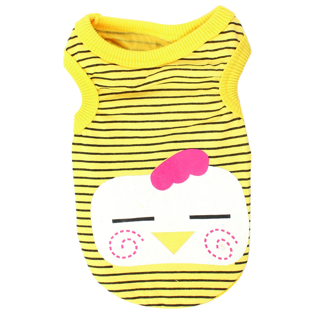 Round Collar Smile Face Print Pet Dog Puppy T-shirt Clothing Yellow Black XS