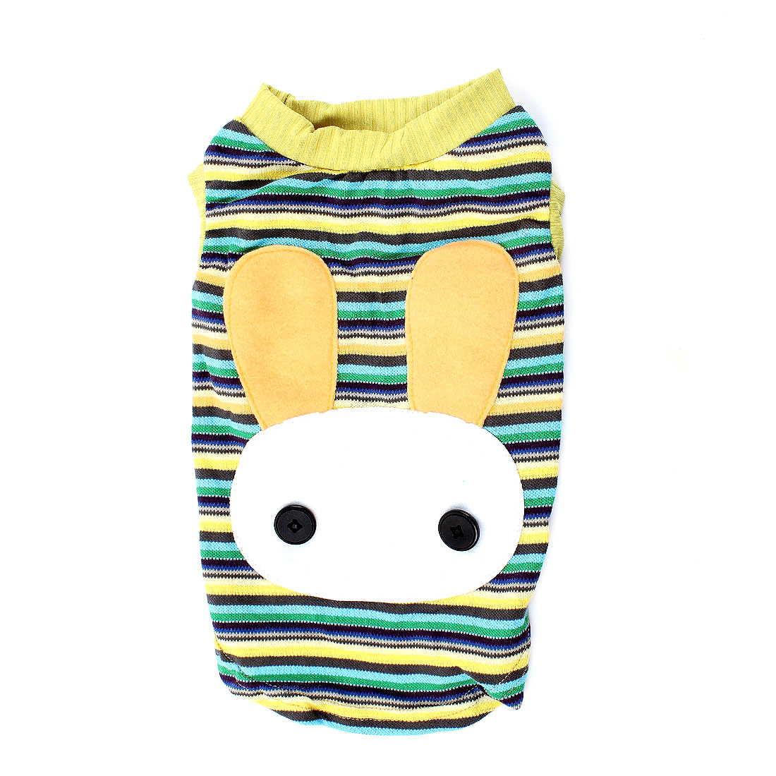 Summer Stripe Rabbit Head Printed Pet Dog T-shirt Clothes Yellow White M