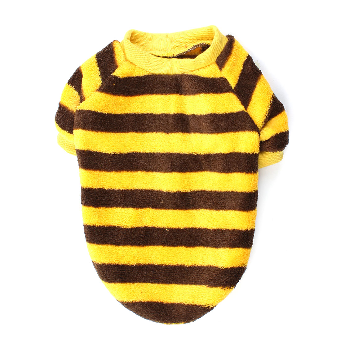 Round Collar Stripe Print Pet Dog Doggy Shirt Clothes Yellow Coffee Color M
