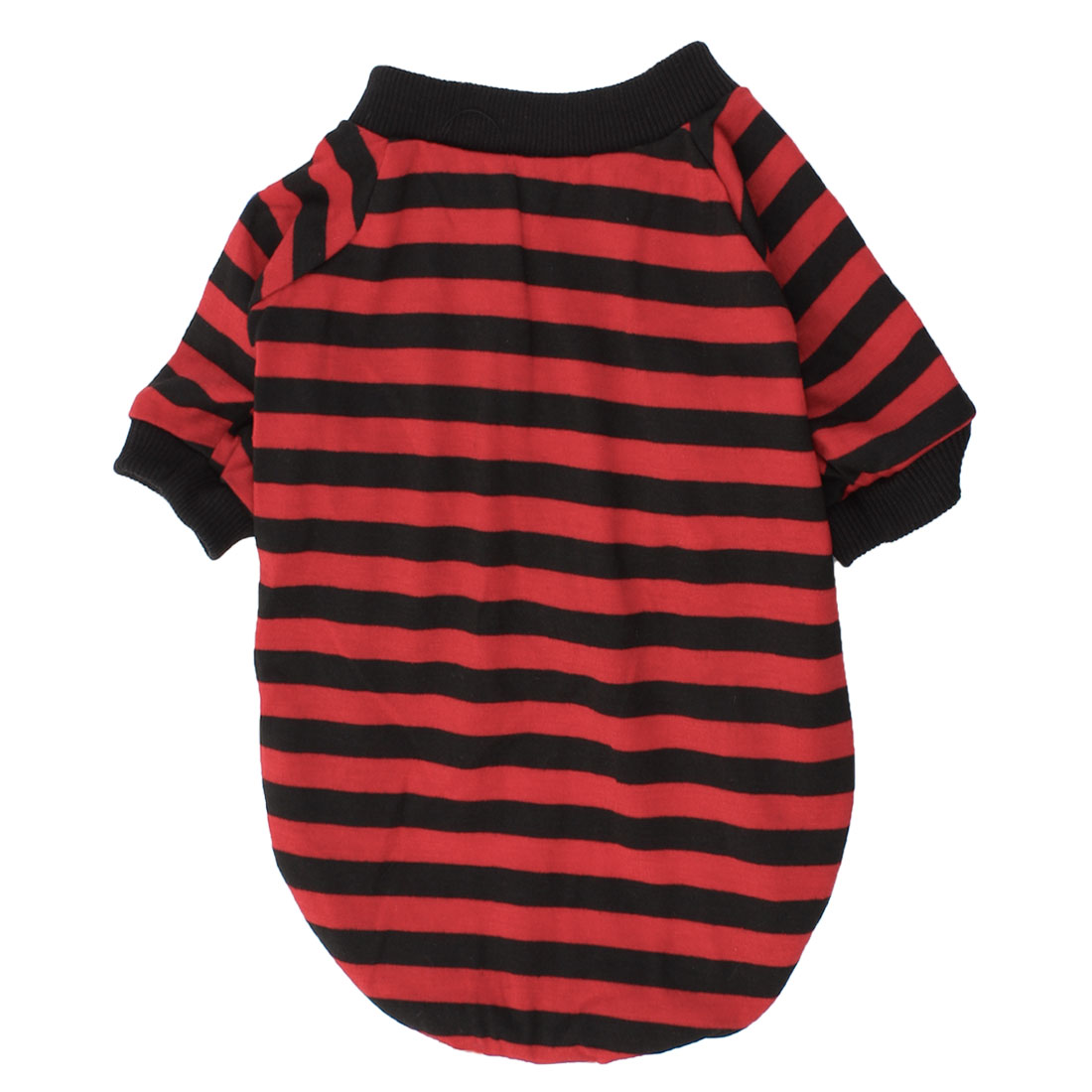 Round Collar Stripe Print Pet Dog Doggy T-shirt Apparel Red Black M