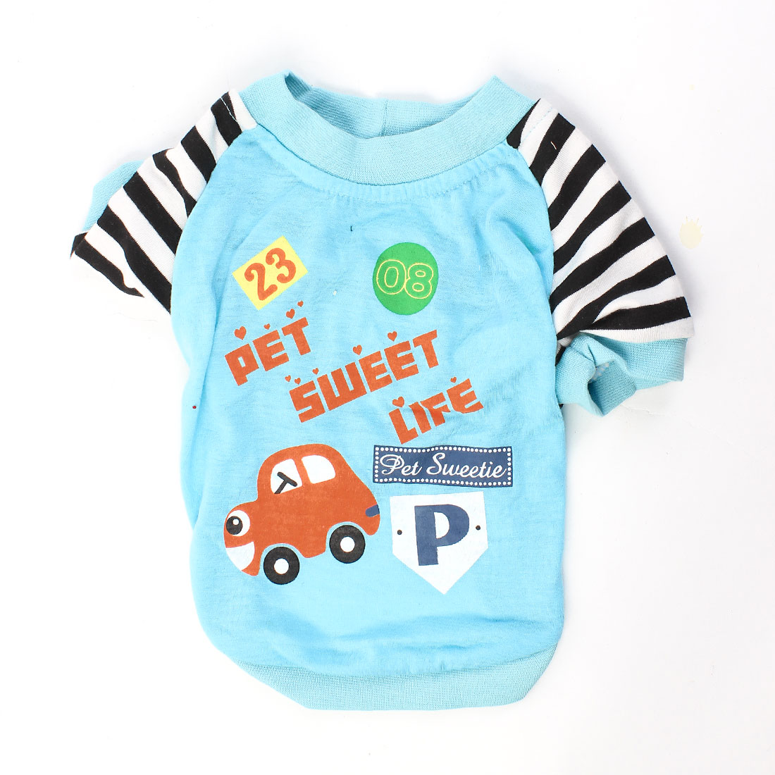 Raglan Sleeve Car Pattern Pet Dog Yorkie Apparel T-shirt Baby Blue S